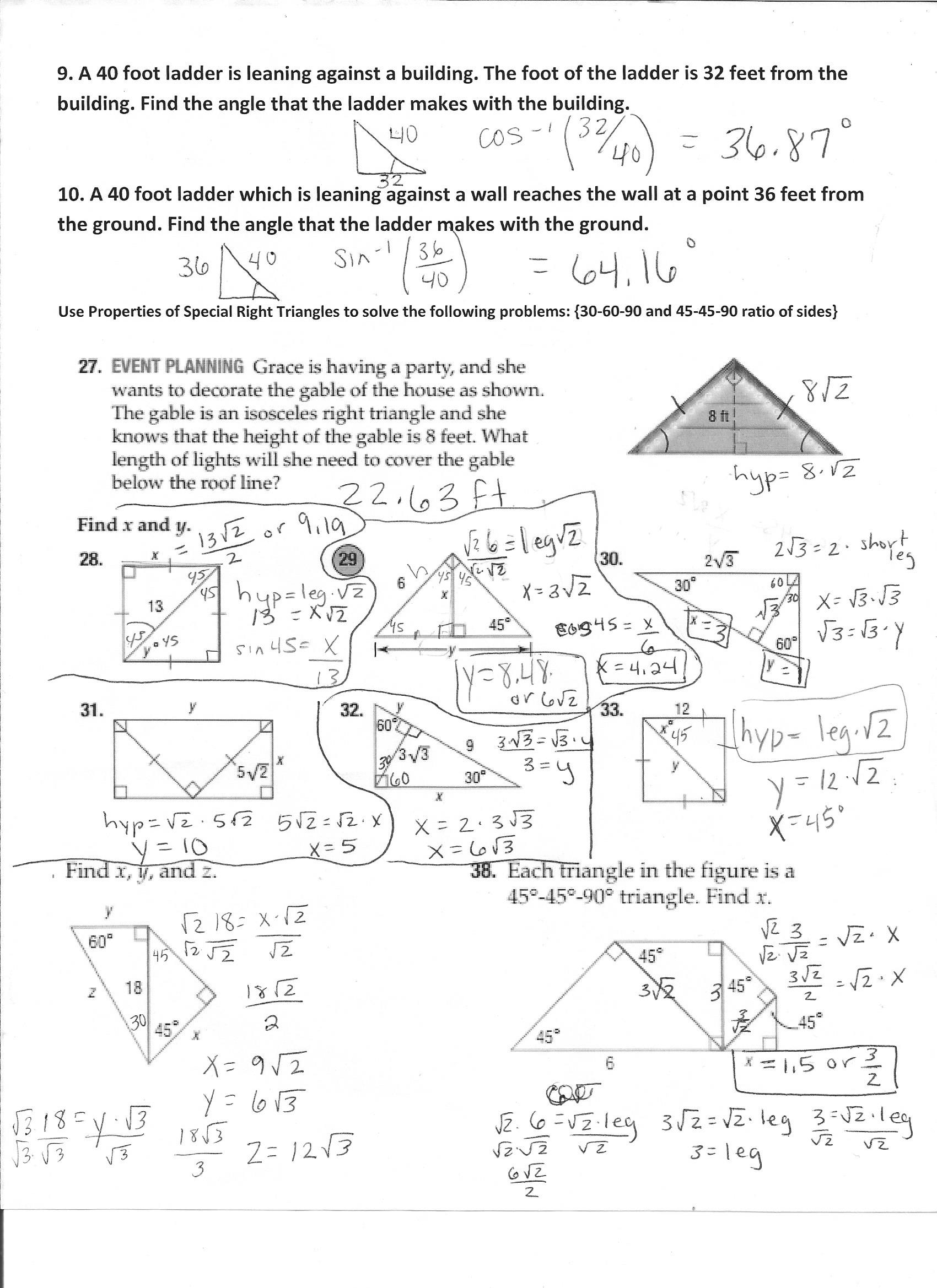 8 3 Practice Special Right Triangles Answers - cloudshareinfo